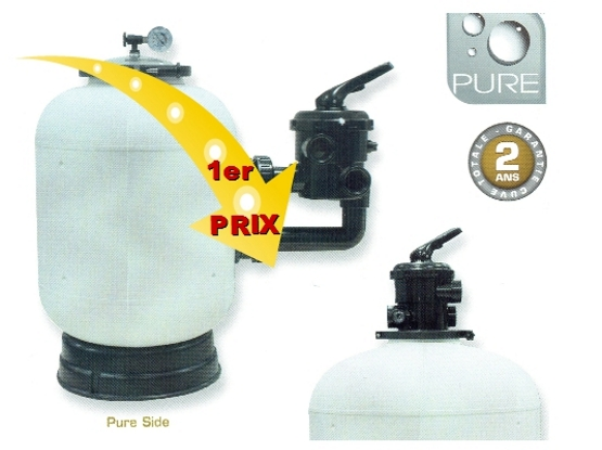 Pure - Filtre à sable - 1er Prix- Side ou  Top de 6.5 à 14m3/h -